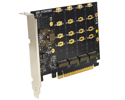 QM2-PCIE16XB02|Four M.2 (Socket 3 Key M PCIe-based SSD Module Pinout) to PCI Express x16 Bifurcation Adapter