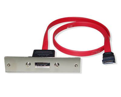 ESATA-ECS-1|eSATA 7pin receptacle to SATA 7pin plug signal extension cable with SCSI 1 connector Form Factor Bracket