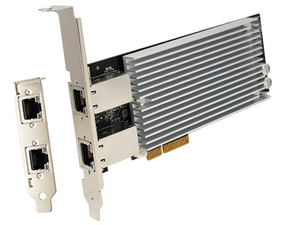 GE10X2-PCIE4XG301|Dual Multi-Gigabit (10G/ 5G/ 2.5G/ 1000BASE-T/ 100BASE-TX) Ethernet to PCI Express x4 Gen 3 Host Card