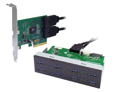 U3X4-PCIE4XE103|Quad Channel 8-port (2-port x 4) USB 3.0 to PCI Express x4 Gen 2 Host Card