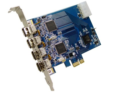 FWX2-PCIE10-4|Dual OHCI Compliant 4-port (2-port x 2) IEEE 1394a (FireWire) to PCI Express x1 Host Card featuring Ti TSB43AB22A IEEE 1394 Host Controller