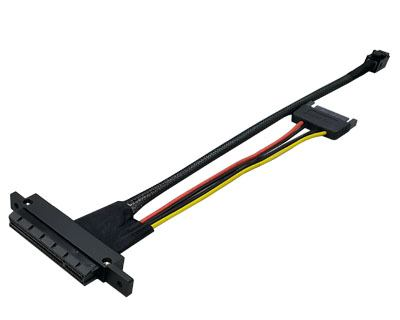 P8XF014CXXPYY|Mini-SAS HD (SFF-8643) 4i plug to PCIe x8 Slot (x4 mode) 85ohm Cable w/SATA 15pin Power