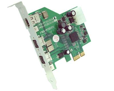 FWB-PCIE1X11A|3-port OHCI 1.2 Compliant IEEE 1394b (Firewire 800) to PCI Express x1 Host Card featuring Ti XIO2213B IEEE 1394 Host Controller