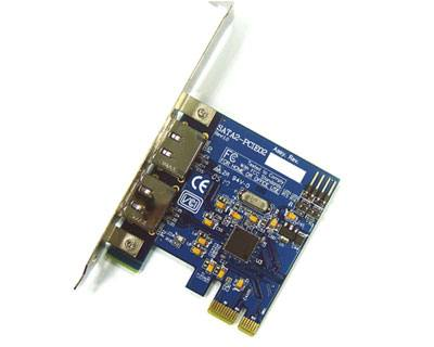 SATA2-PCIE02|2-port (External Port) SATA II to PCI Express x1 RAID Host Card featuring Silicon Image SiI3132 Controller